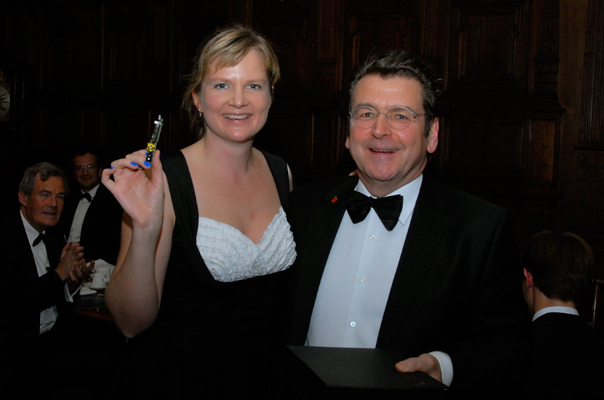 Pete Lomas, Founder and Trustee at Raspberry Pi, receives their Internet and Society Award from OII DPhil Student Heather Ford.