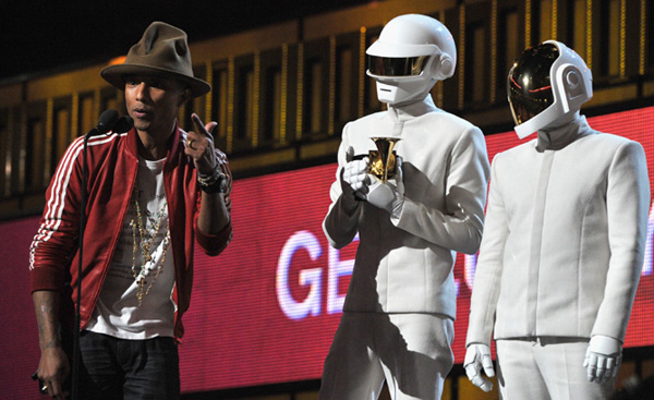 Pharrell (left) and Daft Punk (right) win Album of the Year, Record of the Year and more at the 56th Grammys