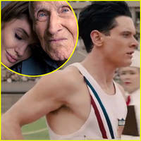 From left, Jolie and Zamperini (inset), O'Connell as Zamperini