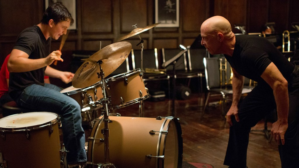 From left, Miles Teller and J.K. Simmons star in Damian Chazelle's Whiplash