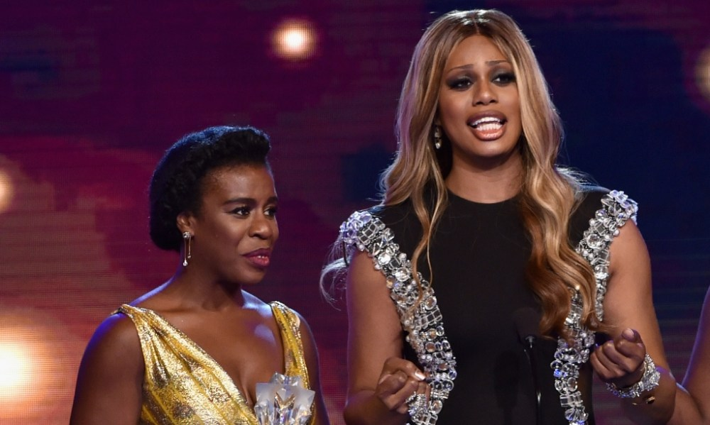 From left, Guest Actress in a Comedy Series co-stars and co-nominees, Uzo Aduba and Laverne Cox