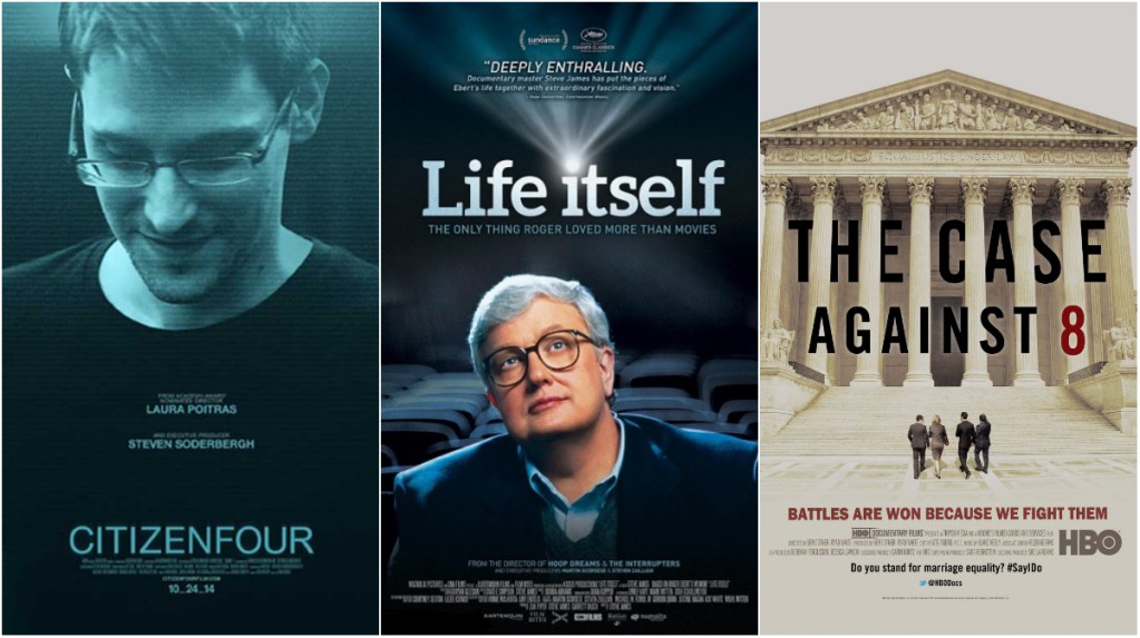 From left; CITIZENFOUR, Life Itself, The Case Against 8 all compete for the Documentary Feature Oscar
