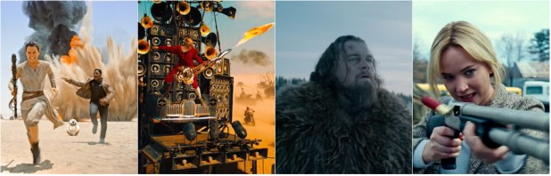 From left; Star Wars: The Force Awakens, Mad Max: Fury Road, The Revenant, Joy