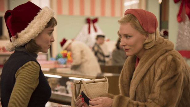 Rooney Mara and Cate Blanchett in CAROL, which scored a field-best five Golden Globe nominations