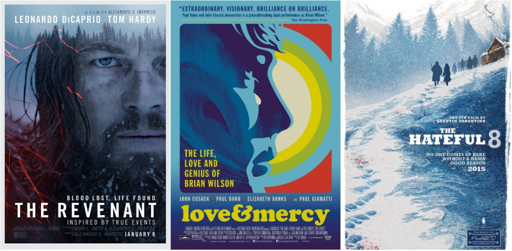 THE REVENANT and LOVE & MERCY are out; THE HATEFUL EIGHT is in for Original Score