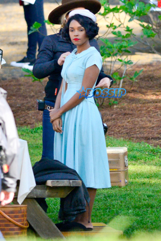 Janelle Monáe on the set of 'Hidden Figures' (photo courtesy of Bossip)