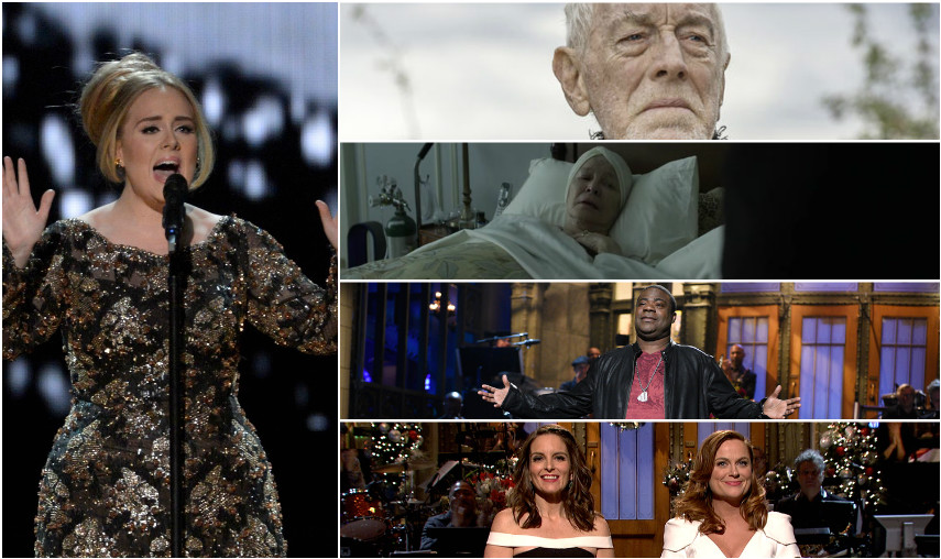 From left; Adele, Max von Sydow, Ellen Burstyn, Tracy Morgan and Tina Fey & Amy Poehler