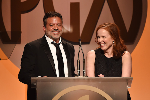 CENTURY CITY, CA - JANUARY 23:  Producers Guild Of America co-Chairs Michael De Luca (L) and Jennifer Todd speak onstage at the 27th Annual Producers Guild Of America Awards at the Hyatt Regency Century Plaza on January 23, 2016 in Century City, California.  (Photo by Kevin Winter/Getty Images)