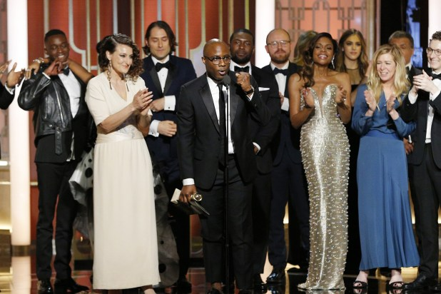"Director Barry Jenkins and the cast and crew of ""Moonlight"" accept the award for Best Motion Picture - Drama for ""Moonlight"" onstage during the 74th Annual Golden Globe Awards at The Beverly Hilton Hotel on January 8, 2017 in Beverly Hills, California. (Photo by Paul Drinkwater/NBCUniversal via Getty Images)"