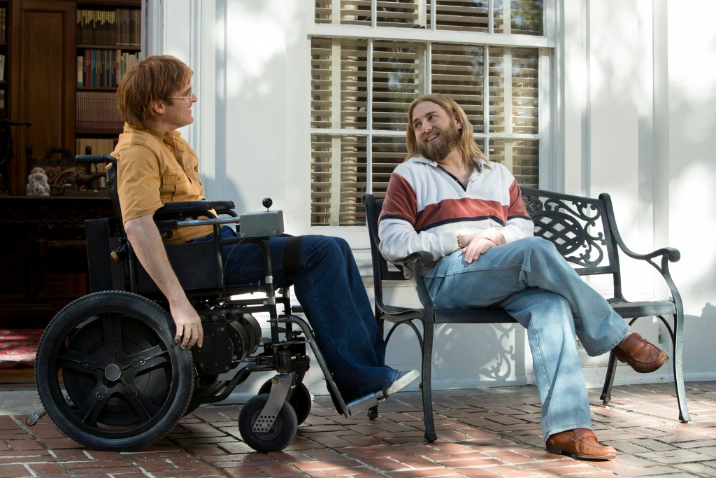 Joaquin Phoenix as John Callahan and Jonah Hill as Donnie star in DON'T WORRY, HE WON'T GET FAR ON FOOT.
