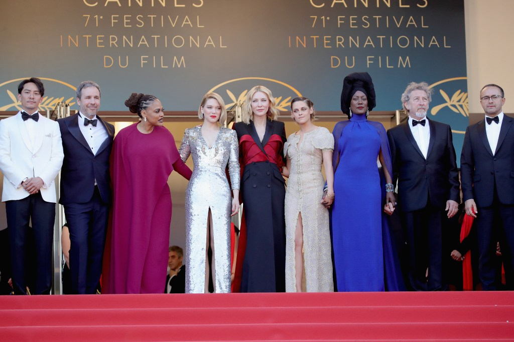 """Jury members Chang Chen, Denis Villeneuve, Ava DuVernay, Lea Seydoux, Jury president Cate Blanchett, Jury members Kristen Stewart, Khadja Nin, Robert Guediguian and Andrey Zvyagintsev attends the screening of  """"The Man Who Killed Don Quixote"""" and the Closing Ceremony during the 71st annual Cannes Film Festival at Palais des Festivals on May 19, 2018 in Cannes, France.  (Photo by Andreas Rentz/Getty Images)"""