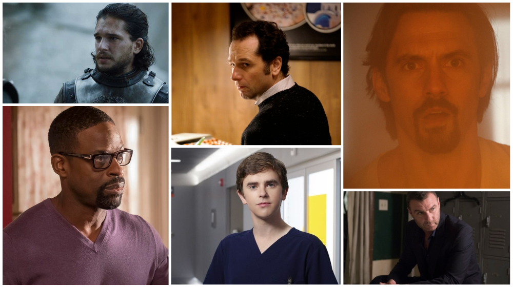 (from left) Kit Harington (Game of Thrones), MatthewRhys (The Americans), Milo Ventimiglia (This Is Us), Sterling K. Brown (This Is Us), Freddie Highmore (The Good Doctor) and Liev Schreiber (Ray Donovan) are all looking for Emmy gold
