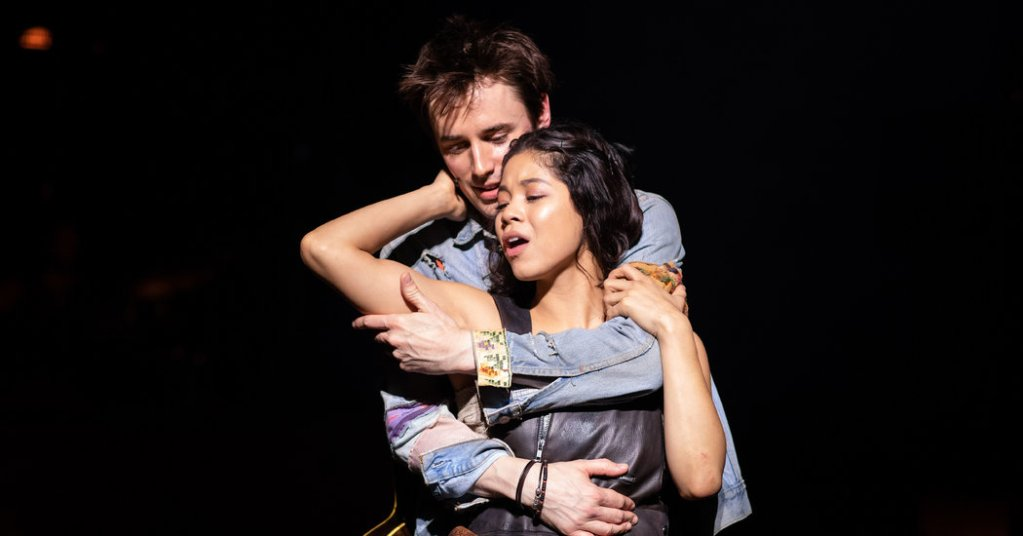 "Reeve Carney as Orpheus and Eva Noblezada as Eurydice in the National Theater's ""Hadestown"" production.CreditHelen Maybanks"