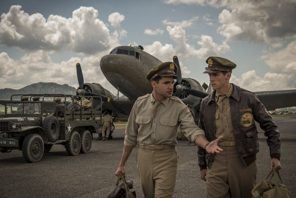 Catch-22 -- Episode 2 -- Yossarian pursues desperate measures to get home, while Milo sees war as a growth industry. Yossarian (Christopher Abbott), Clevinger (Pico Alexander) shown.  (Photo by: Philippe Antonello/ Hulu)