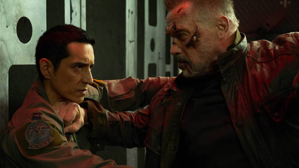 """Arnold Schwarzenegger and Gabriel Luna, left, star in Skydance Productions and Paramount Pictures' """"TERMINATOR: DARK FATE."""""""