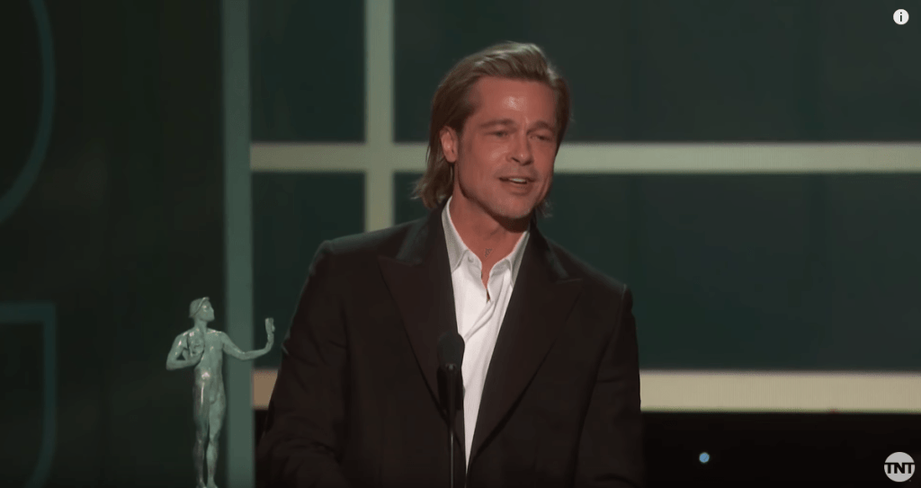 Brad Pitt accepting his Male Actor in a Supporting Role SAG award for ONCE UPON A TIME IN HOLLYWOOD (photo: TNT via YouTube)