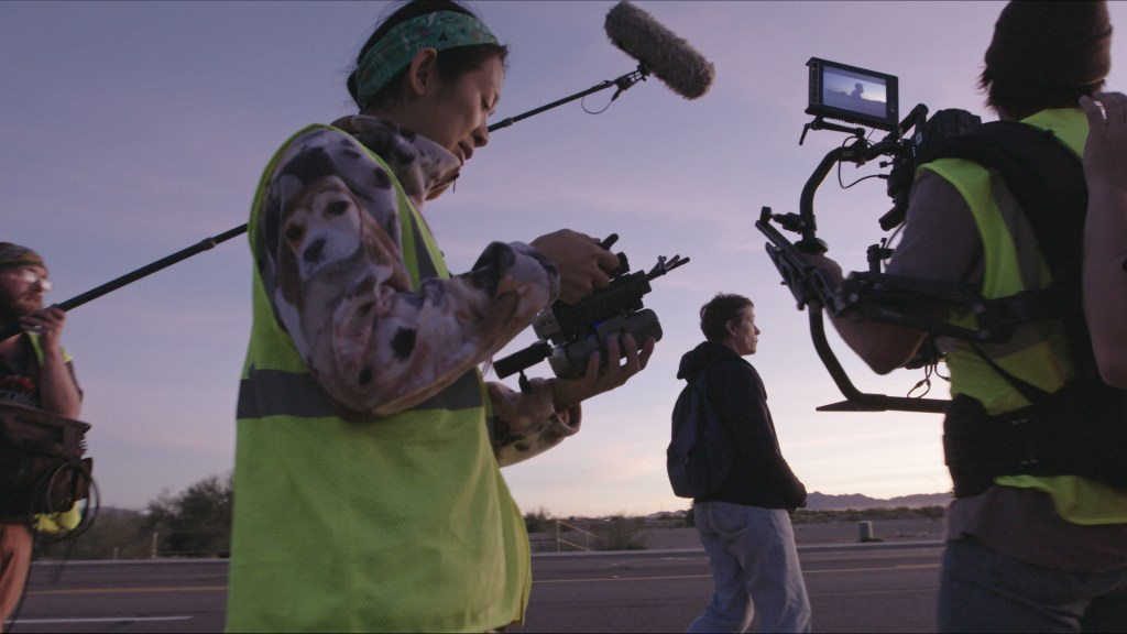 Chloé Zhao sets up a shot for Nomadland (courtesy of Searchlight Pictures)