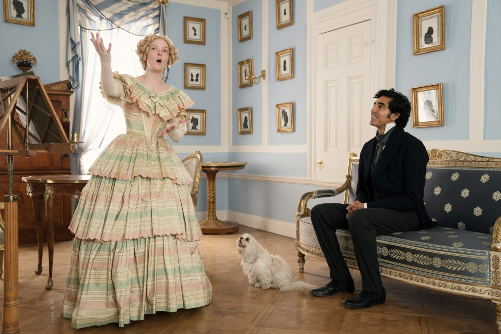 Morfydd Clark and Dev Patel in the film THE PERSONAL HISTORY OF DAVID COPPERFIELD. Photo by Dean Rogers. © 2020 20th Century Studios All Rights Reserved