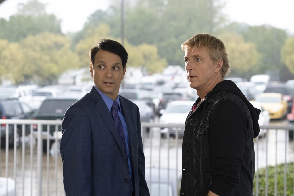 COBRA KAI (L to R) RALPH MACCHIO as DANIEL LARUSSO and WILLIAM ZABKA as JOHNNY LAWRENCE  of COBRA KAI Cr. CURTIS BONDS BAKER/NETFLIX © 2020