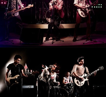 PISTOL -- Top: A first look image from Danny Boyle and FX's Pistol.  Left to right: Christian Lees as original bassist Glen Matlock, Anson Boon as singer John Lydon and Toby Wallace as guitarist Steve Jones.   Bottom: A first look image from Danny Boyle and FX's Pistol.  Left to right: Louis Partridge as bassist Sid Vicious, Anson Boon as singer John Lydon, Jacob Slater as drummer Paul Cook and Toby Wallace as guitarist Steve Jones.  CR: Miya Mizuno/FX  Image is to be used as presented and not cropped or edited to feature a single band image