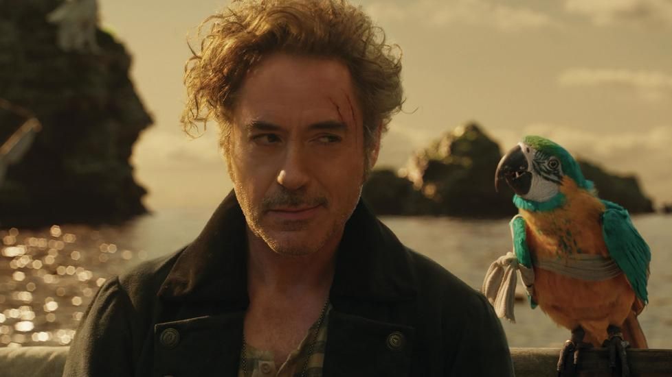 """""""Polly want a movie!"""": Dr. John Dolittle (Robert Downey Jr.) and parrot (voiced by Emma Thompson) are lost at sea in Dolittle."""