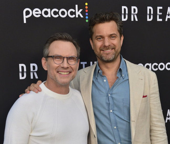 """DR. DEATH -- """"Dr. Death Event"""" -- Pictured: (l-r) Christian Slater, Joshua Jackson at NeueHouse Hollywood on Thursday, July 8, 2021 -- (Photo by: Jerod Harris/Peacock)"""