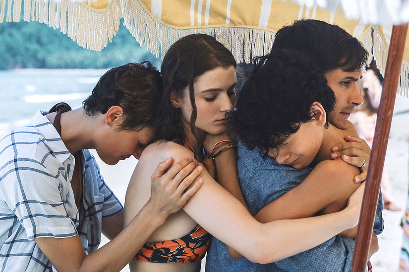 (from left) Prisca (Vicky Krieps), Maddox (Thomasin McKenzie), Guy (Gael García Bernal) and Trent (Luca Faustino Rodriguez) in Old, written and directed by M. Night Shyamalan. Credit: Phobymo/Universal Pictures