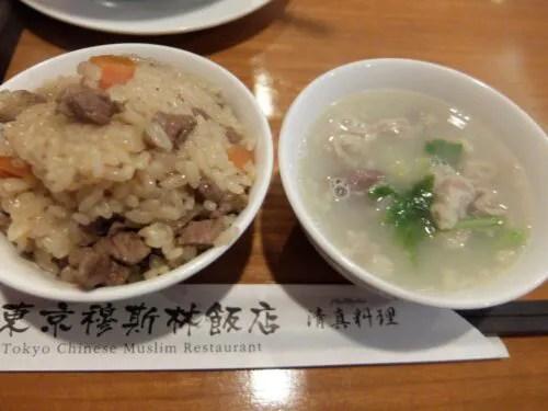 羊釜飯と羊スープ