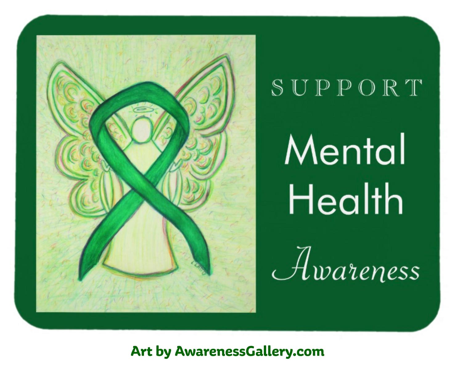 Green Mental Health Awareness Ribbon Custom Gifts and Merchandise - Awareness Gallery Art