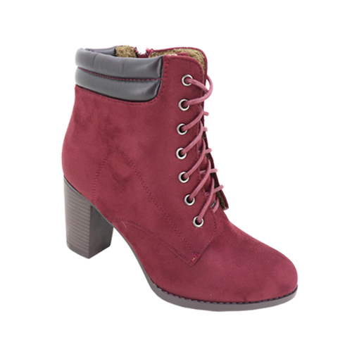 Women Ankle Boots Lace Up Booties Chunky Stacked High Heel