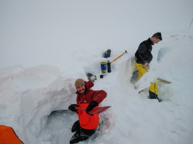 And started digging the snow cave.