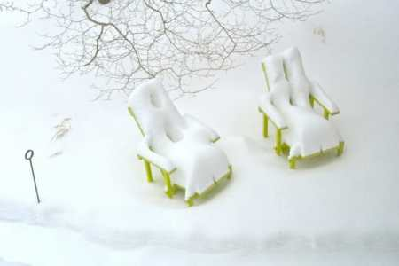 Wave Hill chairs in snow, at Margaret Roach's