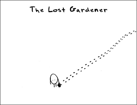gardening cartoon of snowy winter