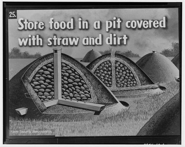 1942 Farm Security Administration food storage graphic