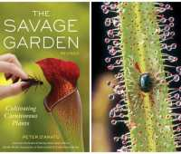 Cover of THE SAVAGE GARDEN, plus beetel on Drosera leaf (Drosera photo Jonathan Chester)
