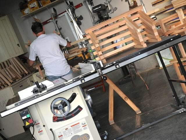Tom Foley in his workshop of chair-making