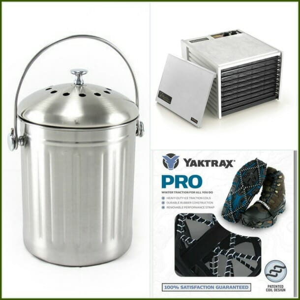 Stainless compost bucket, Excalibur stainless dehydrator, Yaktrax pro grippers