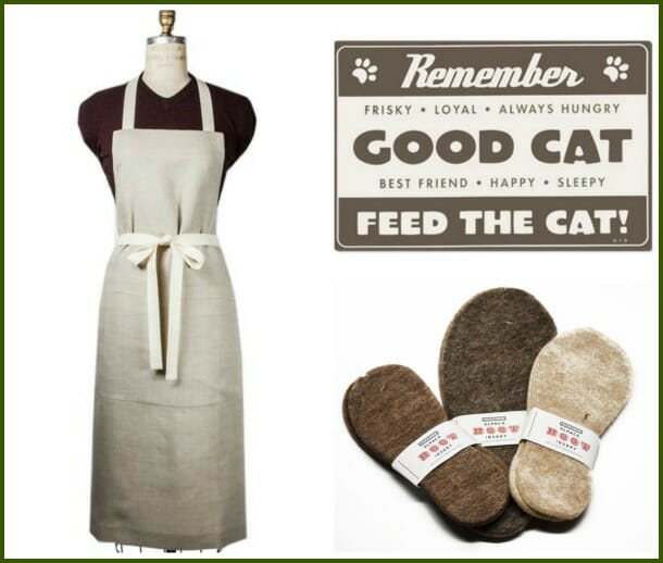Boxwood linen apron, cat placemat, alpaca boot inserts from Beekman 1802