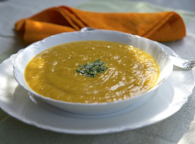pumpkin soup with masala and coconut milk