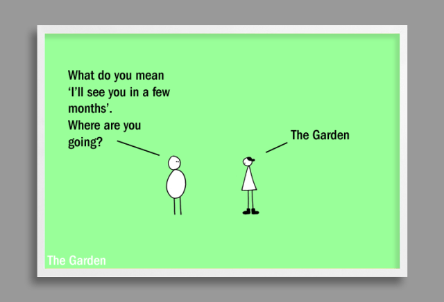 garden cartoon on early spring by Andre Jordan