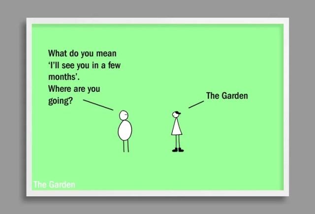 garden cartoon on early spring by Andre Jordan