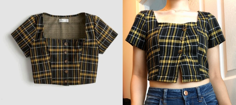 Alteration #1: Hollister square-neck crop top