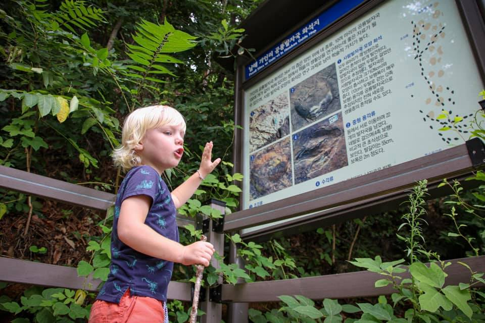 Learning about the dinosaur footprints in Namhae, South Korea.