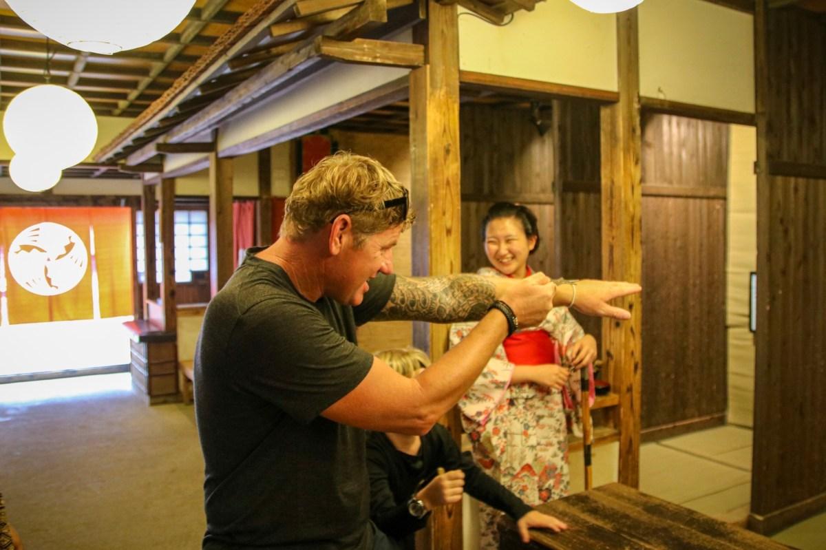 The adults enjoying the Ninja Wonderland in Nikko with kids!
