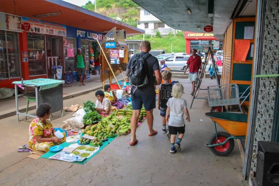Walking around Sigatoka Markets Fiji with kids.