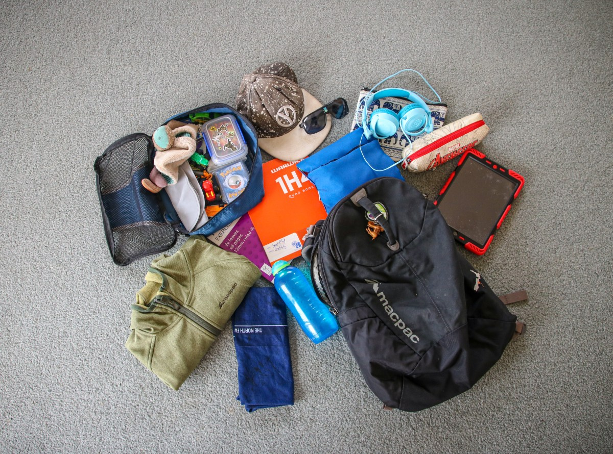 Longterm travel packing: a flat lay photo of the kids daypack contents.