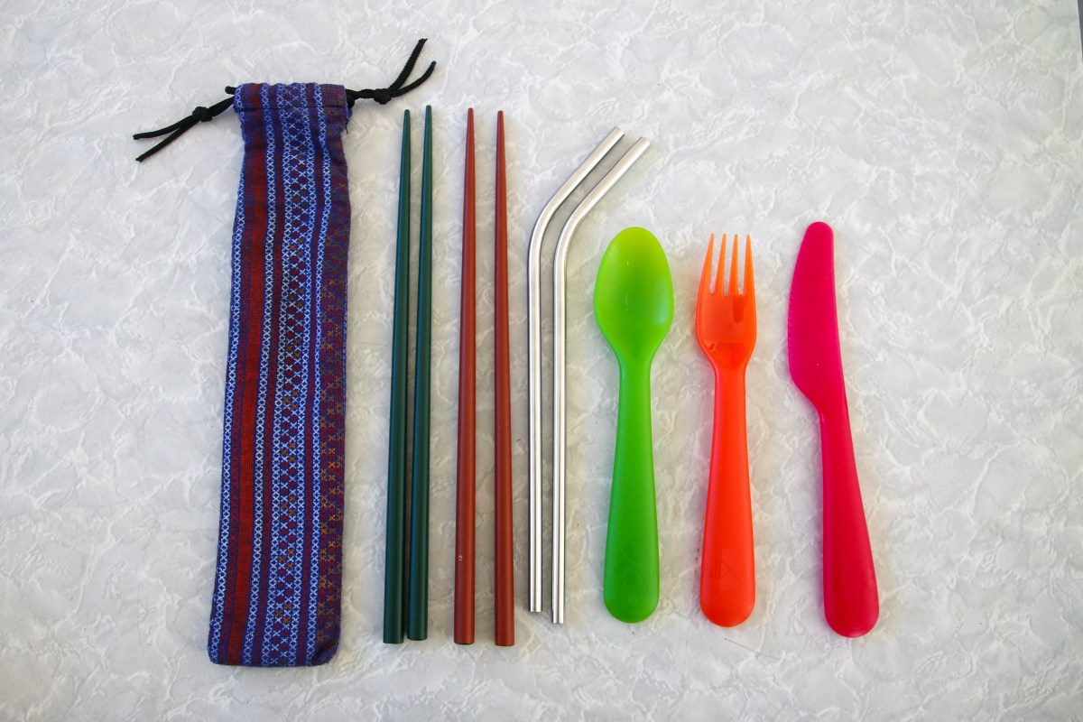 Reusable cutlery - daypack essentials for travel.