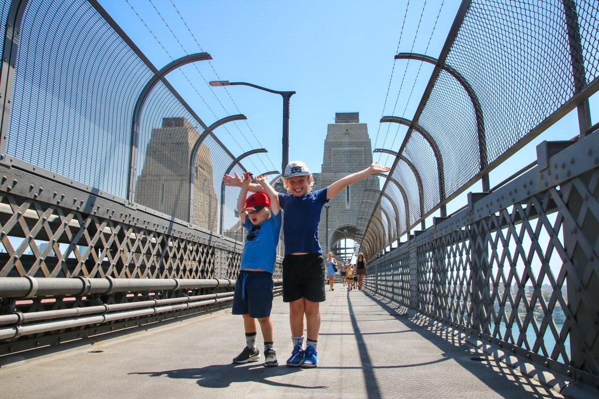 Exploring Sydney with kids; atop the Sydney Harbour Bridge.