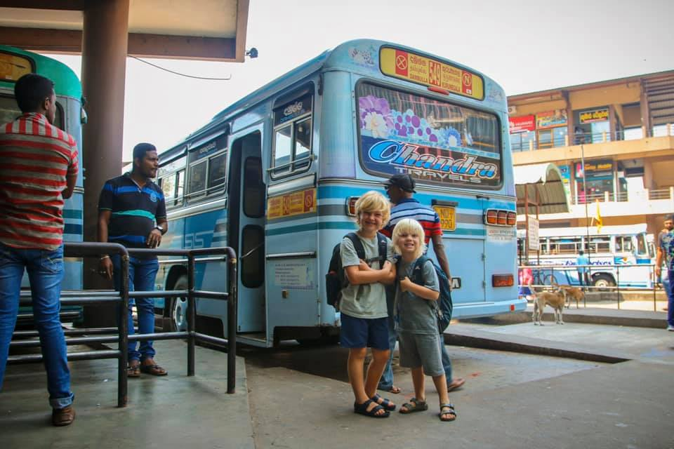Taking the bus with kids for our Sri Lanka with kids itinerary.