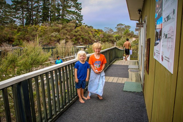 Having a swim at Ngawha Hot Springs as part of our Northland road trip.